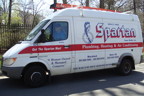 Spartan Truck on Toilet Repair Call